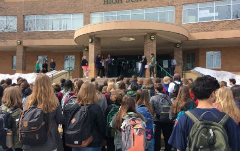 Students walk out for gun control.