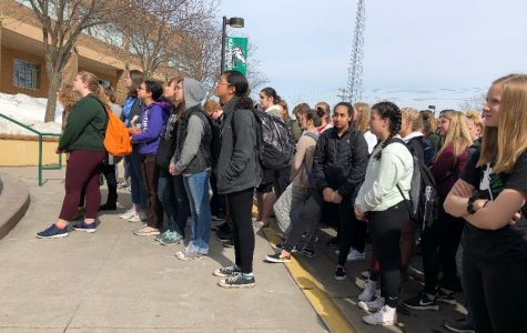 Students walkout for gun control.